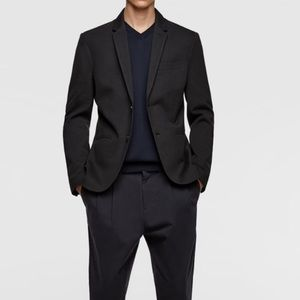 Zara Man Basic Black Two Button Blazer Jacket